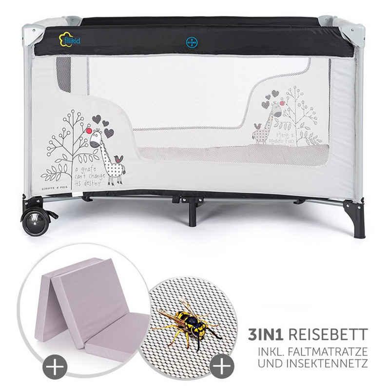 Fillikid Baby-Reisebett »Giraffe - Schwarz Weiß«, 3-tlg., mit Reisebett Matratze, Insektenschutz, Rollen und Transporttasche