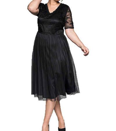 Sheego Abendkleid »sheego Abend-Kleid modisches Damen Ausgeh-Kleid mit Spitzen-Oberteil Große Größen Abiball-Kleid Schwarz«