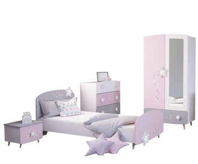 Kindermöbel 24 Jugendzimmer-Set »Kinderzimmer Mädchen Sternschnuppe 4-teilig rosa weiß grau«