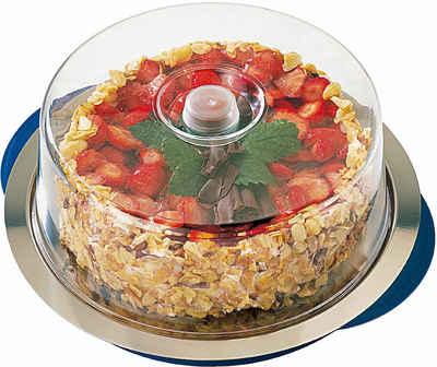 APS Kuchenplatte, Edelstahl, Kunststoff, Ø 35 cm, Kühlfunktion durch 2 Kühlakkus
