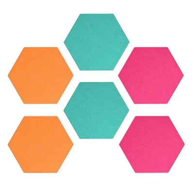 Navaris Pinnwand, Filz Memoboards Set sechseckig - 6x Filzboard 15x17,7x1,5cm mit Stecknadeln und Klebeband - für Küche und Büro