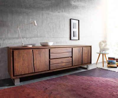 DELIFE TV-Board »Live-Edge«, Akazie Braun 200 cm 4 Türen 2 Schübe Baumkante Lowboard