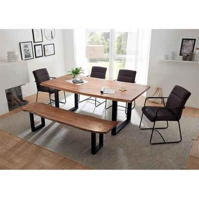 Lomadox Essgruppe »AMSTERDAM-119«, (Spar-Set), bestehend aus Tisch und Bank aus Akazie massiv mit Baumkante, Armlehnenstühle mit Kunstleder in grau