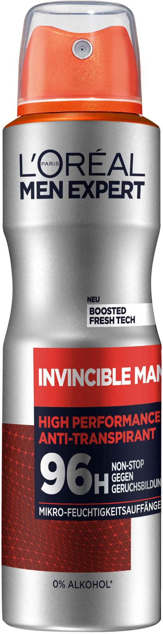L'ORÉAL PARIS MEN EXPERT Deo-Spray »Invincible Man Anti-Transpirant«, 96H Schutz vor Gerüchen