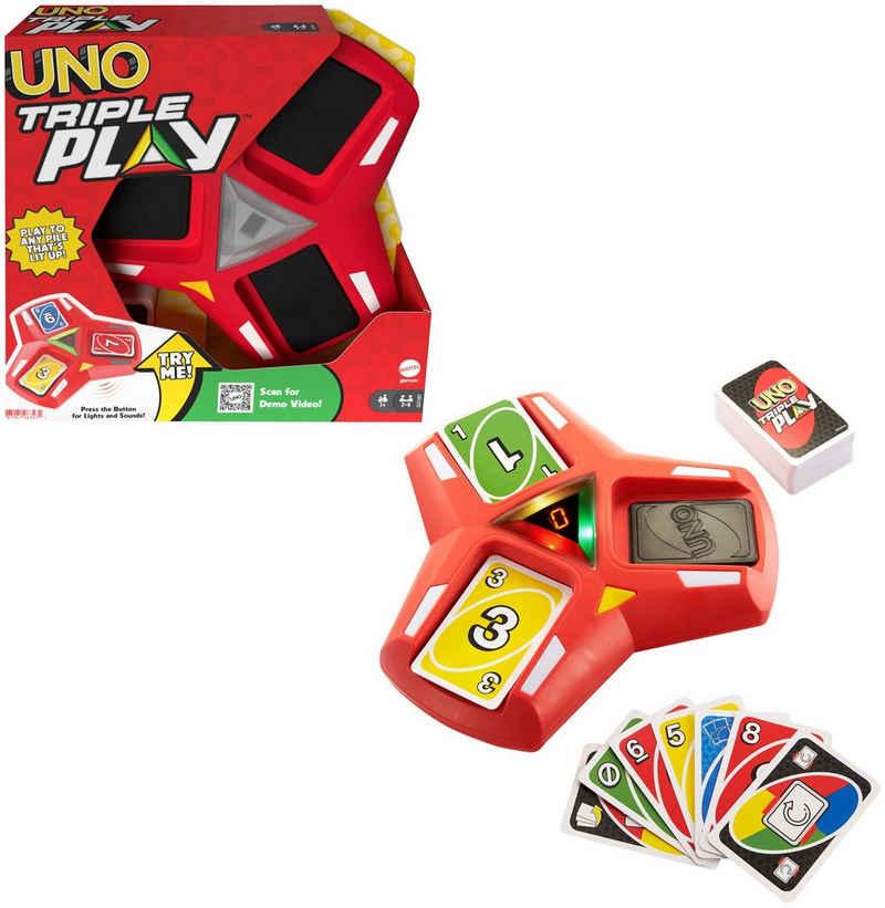 Mattel games Spiel, Gesellschaftsspiel »UNO Triple Play«, mit Licht- und Soundeffekten