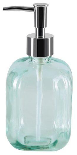 spirella Seifenspender »CARLOS«, 100% recyceltes Glas, extra großes Volumen, 500 ml, klassisches Retro Vintage Design im Barber-Shop-Style, grün