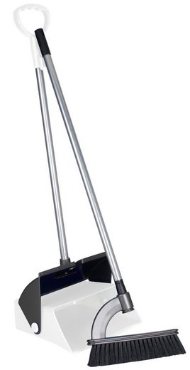 Kehrgarnitur »Stehkehrgarnitur weiß − Kehrset mit Besen und offener Schaufel − Kehrschaufel Set aus robustem Kunststoff − Kehrmaschine Combo mit Stiel«, Rival