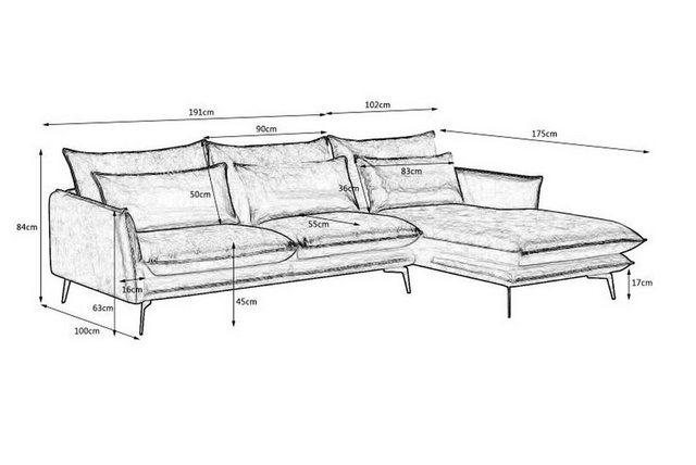 Sofas - KAWOLA Sofa »verschiedene Farben SKYE«, Recamiere rechts o. links verschiedene Farben  - Onlineshop OTTO