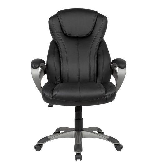 Amstyle Chefsessel »SPM1.415« Schreibtischstuhl Bezug Kunstleder Schwarz Bürodrehstuhl bis 120 kg Design Drehstuhl Höhenverstellbar Bürosessel mit Armlehnen & hoher Rückenlehne