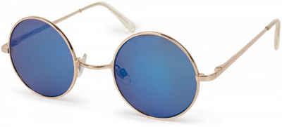 styleBREAKER Sonnenbrille »Sonnenbrille mit kleinen runden Gläsern und Metallrahmen« Verspiegelt