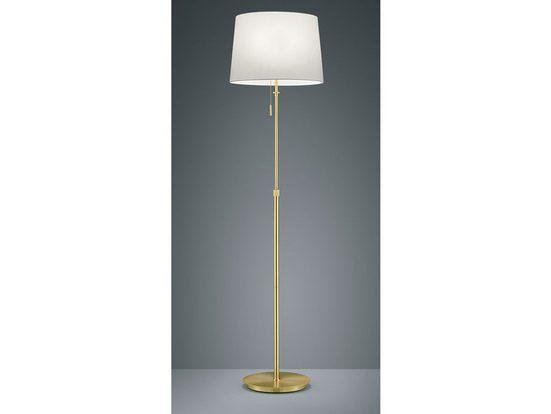 meineWunschleuchte LED Stehlampe, Designer Lampe Vintage Style, Mehrflammig, Messing, Höhenverstellbar, Lampenschirm Stoff Weiß, Zug-Schalter