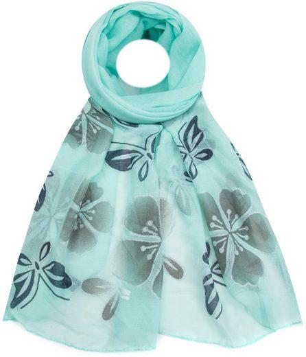 Faera Modeschal Damen Schal Schmetterlinge und Blumen Silber-Glitzer weich und leicht