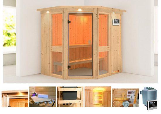 KONIFERA Sauna »Metta 1«, BxTxH: 210 x 184 x 202 cm, 68 mm, 9 kW Ofen mit ext. Steuerung, Dachkranz