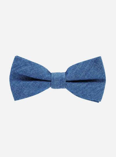 axy Fliege »Herren Fliege Schleife Jeans-Look 12 x 6 cm Baumwolle« bereits gebunden, Konfirmation verstellbar