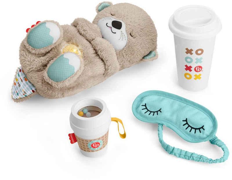 Fisher-Price® Plüschfigur »Schlummer-Otter Geschenkset« (Set, 4-St), Einschlafhilfe, Otter mit Sanftem Licht; Inklusive Schlafmaske + Becher für die Eltern sowie Beißhilfe für das Baby