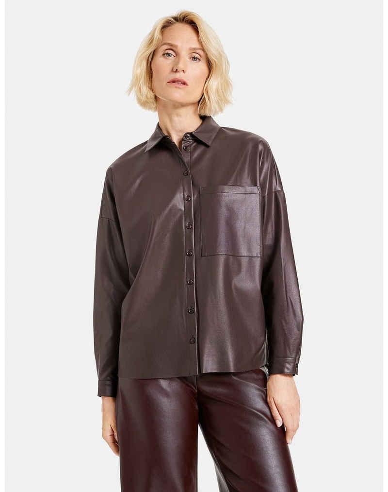 GERRY WEBER Klassische Bluse »Hemd aus Kunstleder« Oversize