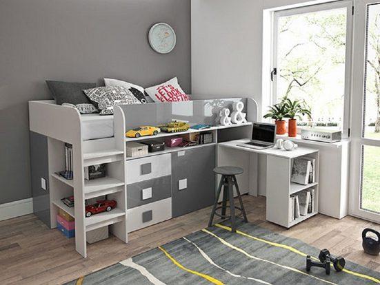 Feldmann-Wohnen Hochbett »TOLEDO 1« (Etagenbett mit Schreibtisch + 2 Schränke) Farbe wählbar