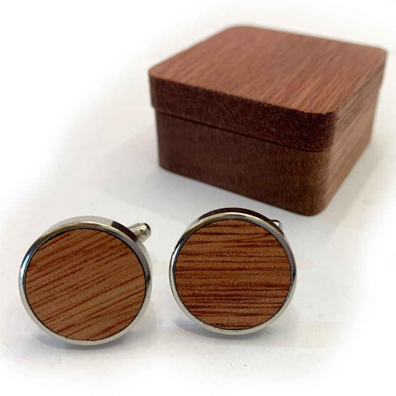 elbedruck Manschettenknöpfe »Holz Manschetten Knöpfe mit Geschenkbox aus Kirsch-Holz« (Größe der Box ca. 2,5 x 4 x 4cm), Naturholz und Edelstahl