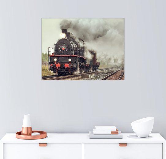 Posterlounge Wandbild, volle Fahrt - Dampflok