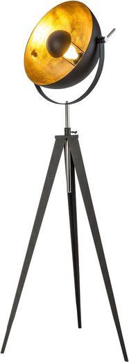 Leonique Stehlampe »Elenoire«, Stehleuchte in Retro Optik, Höhe von 148 bis 168 cm verstellbar, schwarz / goldfarben