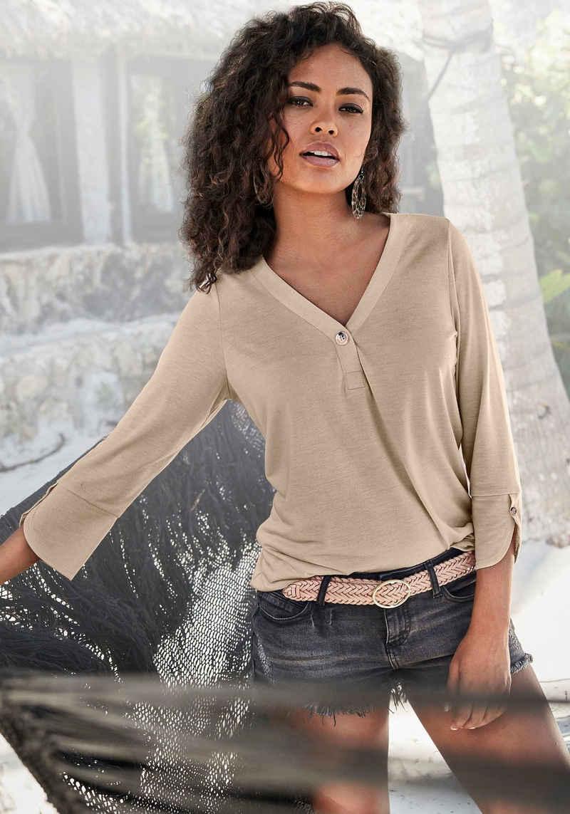 LASCANA 3/4-Arm-Shirt mit modischen Ärmeldetails
