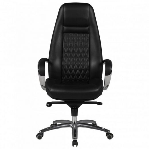 Amstyle Chefsessel »SPM1.298« Bürostuhl AUSTIN Echt-Leder Schwarz Schreibtischstuhl 120KG Chefsessel hohe Rückenlehne mit Kopfstütze X-XL
