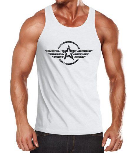 Neverless Tanktop »Herren Tank-Top Shirt Airforce Symbol Stern Army Military Aufdruck Emblem Muskelshirt Muscle Shirt Neverless®« mit Print