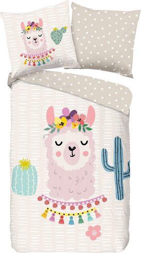 Kinderbettwäsche »Llama«, good morning, mit Lama