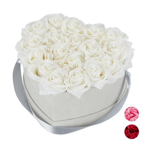 Kunstblume »Graue Rosenbox Herz mit 18 Rosen«, relaxdays, Höhe 13 cm