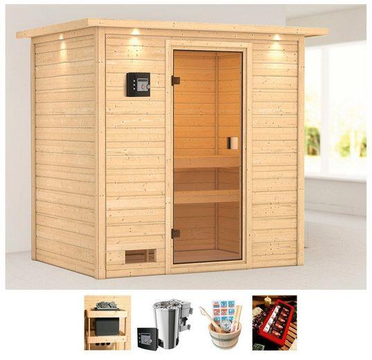 KARIBU Sauna »Sunie«, 223x159x191 cm, 3,6 kW Plug&Play Bio-Ofen + Strg., Dachkranz