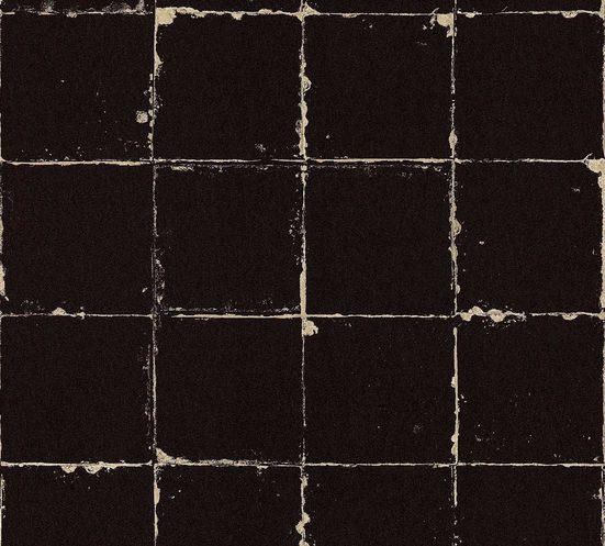 living walls Vliestapete »Authentic Walls Vintage Optik«, glatt, matt, urban, geometrisch, Schwarz-Weiß, (1 St), glatt