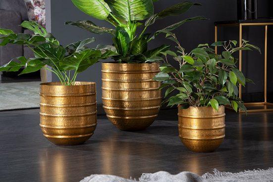 riess-ambiente Übertopf »ORIENT gold« (3er Set, 3 Stück), Vase · für Pflanzen · Metall · Handarbeit · Dekoration