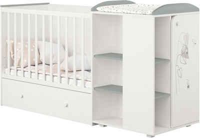 POLINI kids Babybett »French 800 Amis, weiß-grau«, mit Bettschubkasten und Wickelstation; umbaubar zu Juniorbett und Kommode