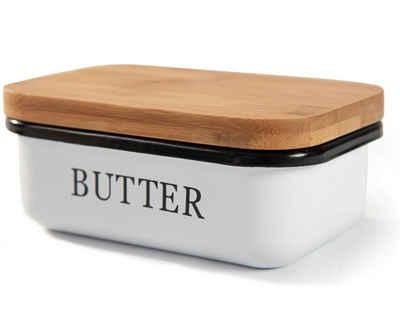 Zedelmaier Butterdose »Butterdose, Butterglocke für 250 g Butter, Butter Dish aus Edelstahl, Butterschale mit Edlem & Nachhaltigem Bambusdeckel, Weiß«