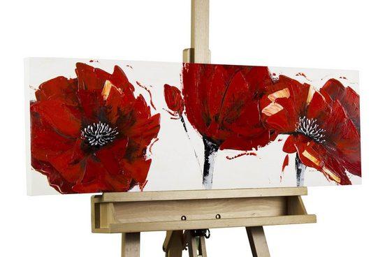 KUNSTLOFT Gemälde »Feuerroter Mohn«, handgemaltes Bild auf Leinwand