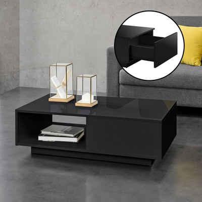 en.casa Couchtisch, »Biskra« Wohnzimmertisch mit Schublade und Ablage hochglanz schwarz