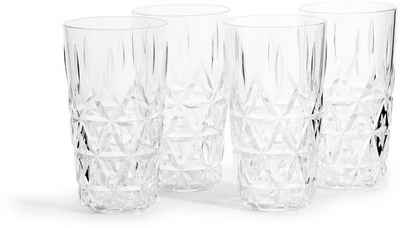 sagaform Gläser-Set »für Picknick«, Kunststoff, Acryl-Glas mit Dreieck-Prägung, 4-teilig