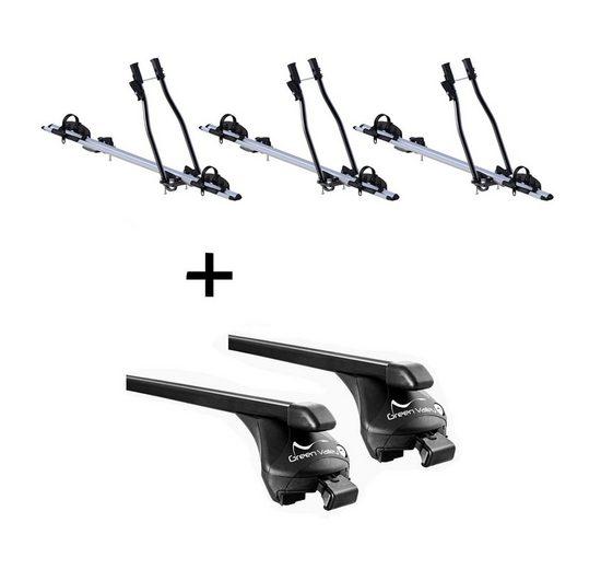 VDP Fahrradträger, 3xFahrradträger SAGITTAR + Relingträger Quick Stahl XL kompatibel mit Audi A6 Kombi (C6) (C7) ab 2005