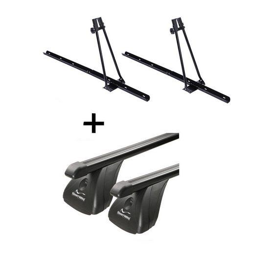 VDP Fahrradträger, 2x Fahrradträger ORION + Dachträger Original Stahl kompatibel mit Toyota Yaris III 5 Türer ab 2011