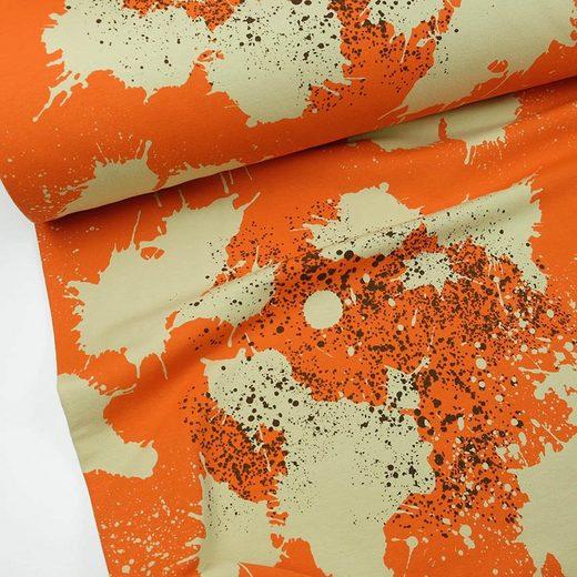 larissastoffe Stoff »French Terry, Sweatstoff Splash Sprenkel orange«, Stoffe zum Nähen, Meterware, 50 cm x volle Breite