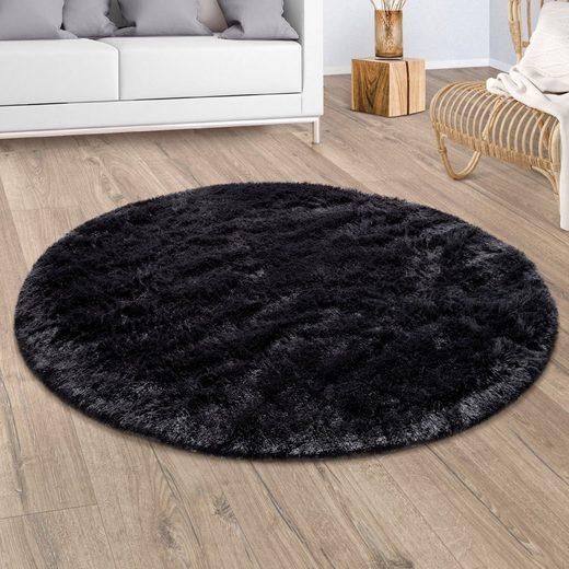 Hochflor-Teppich »Silky 591«, Paco Home, rund, Höhe 33 mm, Uni Farben, besonders weich und kuschelig, Wohnzimmer