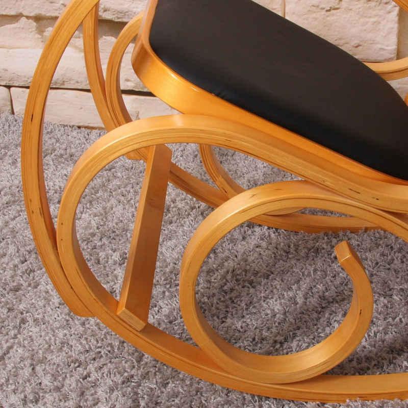 MCW Schaukelstuhl »Gallarate«, Retro-Design, Stabiles Holzgestell, Mit Armlehnen, Weiche Polsterung, Schaukelfunktion