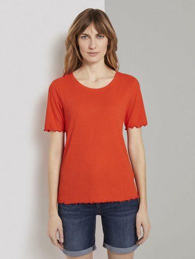 TOM TAILOR T-Shirt »Geripptes T-Shirt mit Wellsaumkanten«