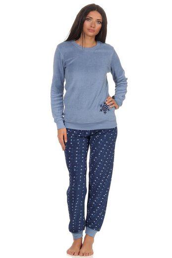RELAX by Normann Pyjama »Damen Frottee Pyjama Schlafanzug mit Bündchen - Eiskristall Motiv - 291 201 13 900«