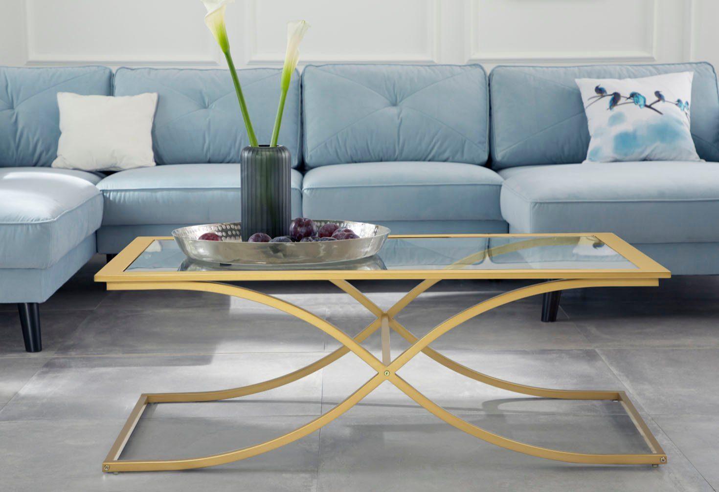 Guido Maria Kretschmer Home&Living Couchtisch »Ballum«, mit edlem Metallgestell und Glasplatte, Breite 120 cm online kaufen | OTTO
