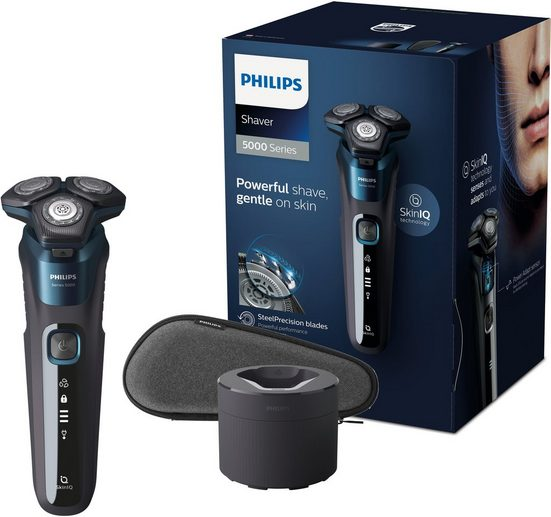 Philips Elektrorasierer Series 5000 S5579/50, Reinigungsstation, ausklappbarer Langhaarschneider, mit SkinIQ Technologie