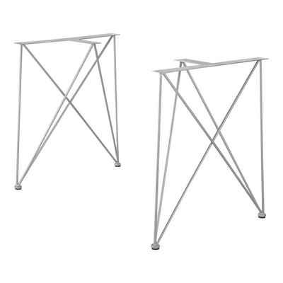 en.casa Untergestell, 2x Tischgestell für DIY Esstisch »Makers« [Stahl, pulverbeschichtet] - Silber - 62x22x72cm