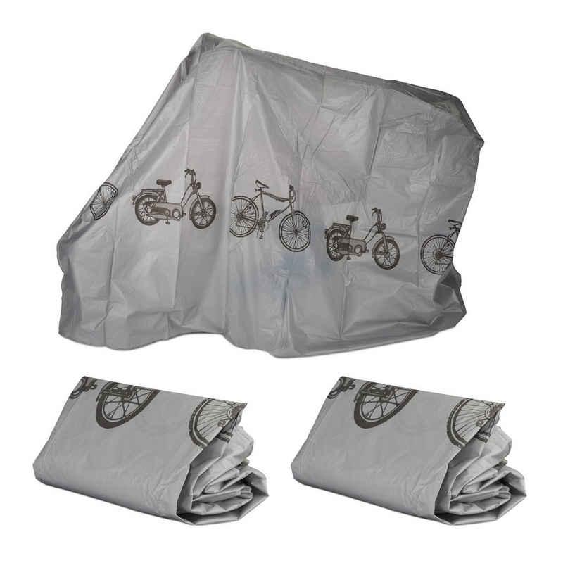 relaxdays Fahrradschutzhülle »3 x Fahrradgarage Kunststoff grau«