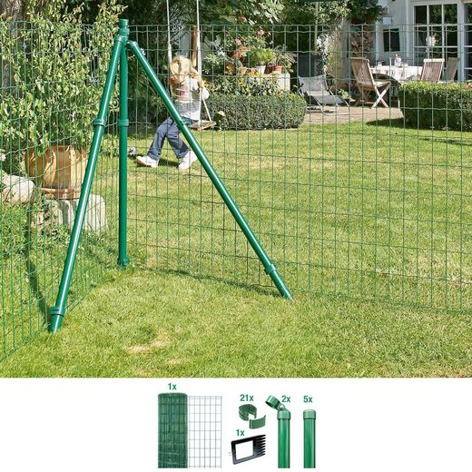 GAH Alberts Schweissgitter »Fix-Clip Pro®«, (Set), 81 cm hoch, 10 m, grün beschichtet, zum Einbetonieren