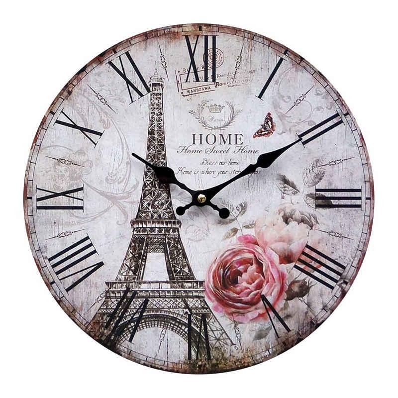 LB H&F Lilienburg Wanduhr »LB H&F Lilienburg Wanduhr Vintage Küchenuhr weiß schwarz Paris - mit lautlosem Uhrwerk Uhr - ohne Ticken F« (lautlos, ohne ticken, geräuschlos, schleichendes Uhrwerk, Quarzuhr, Wohnzimmer, Küche)